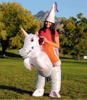 Wholesale Halloween Blow Ups - HOT Adult Halloween Costumes Inflatable Unicorn Costumes Ride on Sky Horse Air Blowing Up Clothes Funny Costumes mascot .