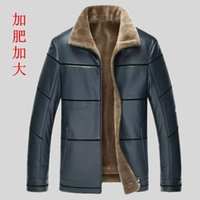 Wholesale Leather Jacket For Large Men - Fall-2015 Winter leather jackets Men Faux Fur Coats male casual motorcycle leather jacket Thicken Outwear Overcoat For Man large 8XL