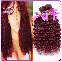Wholesale Curly Burgundy Hair Extensions - Deep Curly 99j burgundy Weaves Unprocessed Virgin Indian hair 7a Brazilian Hair Extensions Cheap Indian Weaving Hair 100% Human Hair Bundles