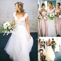 Wholesale Affordable Line Wedding Dresses - 2017 New Bohemian A-Line Wedding Dresses Affordable Lace Short Cap Sleeve V-Neck Open Backless White Ivory Tulle Beach Garden BO8917