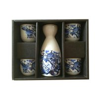 Wholesale house town for sale - Group buy Blue Japanese Sake Set Vintage Ceramic Wine Bottle Pot Hip Flask Cups Gift Hand Painted Oriental Water Town Houses Boats White