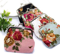 Wholesale Vintage Flower Coin Purse Canvas Key Holder Wallet Hasp Small Gifts Bag Clutch Handbag