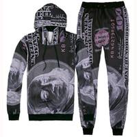 Wholesale Dollar Hoodie - 2016 Men Women 3D Dollars Franklin Sport Suits Hip Hop Emoji Sweatshirts+Jogger Pants Tracksuit Running Jogging Hoodies Set