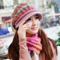 Wholesale Knit Beret Scarf Set - Wholesale-Winter hat female knitted hat scarf twinset female knitted hat winter women's new brand wool berets warm knitted scarf fashion