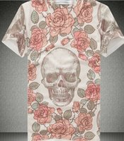 Wholesale Loose Galaxy Shirts Short Sleeve - New Fashion women men Flower Skull t shirt clown character print 3D T-shirt Top Men loose short sleeve o-neck Galaxy t shirt