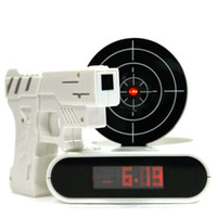 Wholesale Alarm Shoot - Novelty Gun Alarm Clock Gun O'clock Shooting Game Cool Gadget Toy Novelty with Laser Target With Retail Package Free Shipping