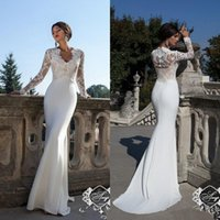 Wholesale Slim Beach - 2016 New Modest Long Sleeves Sheath Wedding Dresses V Neck Lace Appliques Slim Illusion Spring Summer Bridal Gowns Vestidos De Noiva