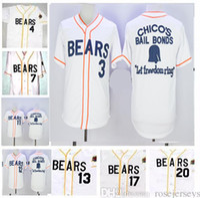 Wholesale bond movies - stitched The Bad News Bears Movie Jerseys Men 3,4,7,12,13,17 Walter Matthau Chicos Bail Bonds cheap film Baseball Jersey