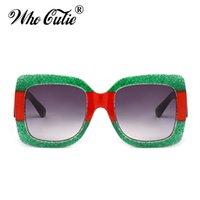 Wholesale Glitter Glasses Frames - 2018 Glitter Red Green Sunglasses 0083 Women Oversized Square Luxury Brand Designer Gradient Lens Sun Glasses Shades0083S