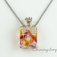 Wholesale Glass Bottles Suppliers - necklace vials for ashes essential oil diffuser necklaces small wish bottle pendant necklace wholesale supplier top quality lampwork glass j