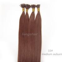 "Wholesale I Tip Indian Virgin Hair - Indian Straight I-tip Hair 15"" 80g 18""-26"" 100g 100s 33# Medium Auburn Brazilian Indian Peruvian Malaysian Virgin Remy Human Hair Extensions"