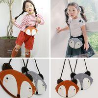 Wholesale Girl Cartoon Hot Fox - 2016 baby's cute fox bag HOT FOX purse Handbag wallet 19*13 CM children girls Fashion cartoon one-side Bags 20pcs lot