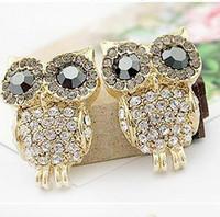 Wholesale korean style stud resale online - lovely full crystal owl rhinestone women s earrings fashion stud earring jewelry hot Korean style girl s gift party ear accessories