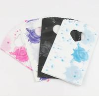 ingrosso sacchetti di regalo in plastica viola-200 pz / lotto 4 Colori Rosa Blu Nero Viola Stelle Rosa Monili di Plastica Sacchetti Regalo Borse Gioielli 15X9 cm 112307