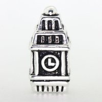 pagoda bracelet charms - New Clocktower Sterling Silver Clock Beads Pagoda For Necklace European Charms DIY Bracelets Snake Chain Jewelry