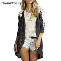 Wholesale Ladies Coats Sale Wholesale - Wholesale- Casual Hot Sales Attractive Luxury Womens Fashion Lady Lace Casual Knit Sleeve Sweater Coat Cardigan Jacket Free Shipping D 22