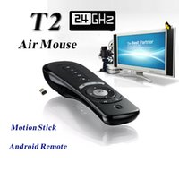 Les souris T2 2.4GHz Wireless Air Mouse Gyroscope Android 3D Remote Control Sense Mouvement Stick Mini Smart PC Media Player TV Box portable G-Box