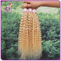 Wholesale Extension Curly Blonde - 7A 100% Human Hair Extensions Double Weft Remy Blond Weave #613 Mixd Lengths Kinky Curly Queen Hair Sold By Irina Hair 100g pc 3pcs lot DHL