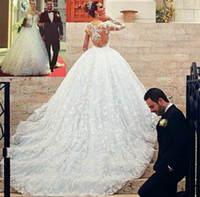 Wholesale Long Barato - Personalizada nueva princesa barato Vestido de boda manga larga de tren capilla Illusion volver encaje balón Vestido Vestido de novia 2016