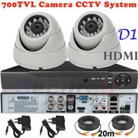 Wholesale Cheapest Cctv Camera Recorders - Free shipping cheapest top selling 2ch cctv kit indoor use dome security surveillance video monitor camera 4ch DVR recorder HDMI
