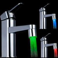 Wholesale Led Faucets Sale - 2015 New arrival free shipping Hot sale best quality Glow LED Water Faucet Shower Light kitchen Tap Temperature Sensor Colorful # ZH118