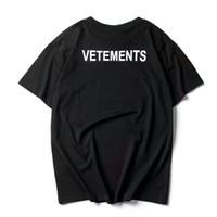 homens hiphop camisetas venda por atacado-2017 NOVA TOPO SS16 verão vetements carta homens impressão preto branco de manga curta t shirt hiphop moda casual algodão tee s-xl