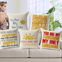 Wholesale Printed Letters Pillows - English Letters You Are My Sunshine Love Cushions Pillows Covers Sofa Throw Decorative Linen Cotton Pillow Case Cushion Cover Present