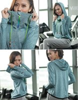 Wholesale Long Sleeve Professional Clothing - New sweater zipper hat women autumn and winter sports leisure outdoor professional yoga running fitness clothing long sleeve