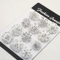 Wholesale Engagement Cakes - 12PCS Mixed Flower Crystal Silver Plated Alloy Brooches High Quality Fashion Wedding Cake Flower Pins Girls Pretty Collar Pins