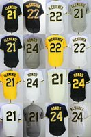 Mens 21 Roberto Clemente 22 Andrew McCutchen 24 Barry Bonds Coolbase Grigio Giallo Throwback Bianco Nero Coolbase