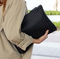 siyah deri zarf debriyajı toptan satış-Moda örgü kadın debriyaj çanta PU deri kadın zarf çanta debriyaj akşam çanta Manşonlar Çanta siyah ücretsiz kargo