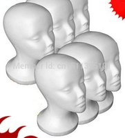 Wholesale Styrofoam Wig - Free Shipping Styrofoam head Foam Mannequin Manikin Head Model Glasses Wigs Cap Display Stand white color