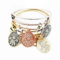 Wholesale Alex Love - Fashion Charms Bracelet Vintage Bracelets Alex Bracelets Bangles Love Palm Metal Wristband For Women