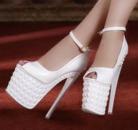 Wholesale Size 35 Bridal Platform - Roman style party queen ankle strap wedding pumps bridal shoes 19cm party queen super high heel platform shoes dress shoes size 35 to 39