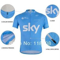 Wholesale Shirt Padded - Summer Sky Men's Cycling Jersey Sets With Short Sleeve Bike Shirt & padded (bib) short in cycling clothing, breathable bicycle wear