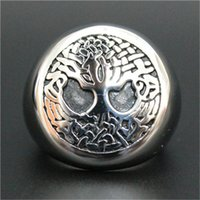 Wholesale Ring Hope - 2pcslot Newest Design Hope Life Tree Ring 16L Stainless Steel Biker Style Mens The Christmas Tree Ring