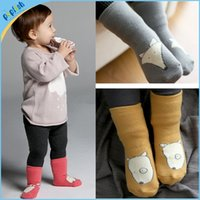 Wholesale Shoes Baby Dog - Fox Baby infant winter shoes socks boys girls crib shoes rubber sole 3 colors fox rabbit dog 0-4Y terry thick animail kids socks