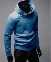 çapraz fermuar süveter toptan satış-dorp NAKLIYE 2015 SıCAK Marka Yeni Çapraz fermuar erkek Hoodies Sweatshirt Ceket Kaban Boyut M, L, XL, XXL, XXXL