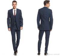 Wholesale Waistcoat Three Button Suit - Midnight Blue Slim Fit Suits for Grooms 2017 Top Quality Handmade Wedding Suits Design for Men Three Pieces Cheap (Jacket+Pants+Waistcoat)