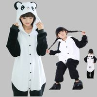 pijamas kigurumi trajes de animales al por mayor-Panda Kigurumi Pijamas Trajes de animales Cosplay Disfraz de Halloween Adultos y niños Prendas de vestir Mono de dibujos animados Ropa de dormir unisex