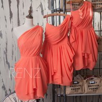Wholesale Natural Orange Coral - 2015 Coral Junior Bridesmaid dress Knee Length One Shoulder Chiffon Short Maid of Honor Dresses Girls Orange Pleated Formal Dress