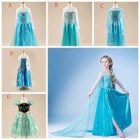 Wholesale Children Formal Costume Party - Elsa queen girls dress Long Sleeve princess frozen girl party dress Paillettes children Costume clothing kids Formal clothes Elsa Anna Dress