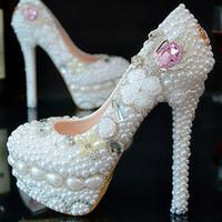 marfim vestido branco sapatos venda por atacado-Branco e marfim artesanal vestido de casamento sapatos sapatos de noiva lindo super sapatos de salto alto pérola sapatos de strass
