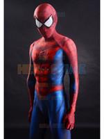 ingrosso vestito uomo zentai xxl-2015 Spider-Man Costume 3D Stampa Spandex Fullbody Spiderman Supereroe Costume Per Halloween Cosplay Vendita Calda Vestito Zentai Spedizione Gratuita