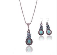 Wholesale Mosaic Necklace Set - Wholesale-Bohemia Fashion blue Geometrical Mosaic crystal turquoise pendant necklace Errings jewelry set TN--1 Free shipping