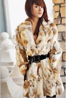 Wholesale real rabbit coat - Wholesale-New Real Long Rabbit Fur Coat Fashion Women Rabbit Fur Winter Warm Jacket EMS Free Shipping TP68827