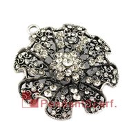 Wholesale New Design Necklace Jewellery - New Design DIY Necklace Pendant Scarf Jewelry Metal Alloy Rhinestone Charm Flower Jewellery Scarf Pendant, Free Shipping, AC0426
