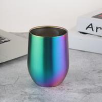 farbe gläser porzellan großhandel-Edelstahl-Schalen-Ei-Form Isolierweingläser-runde Regenbogen-Farbe Stemless Bier-Schalen für Stangen-Partei 17zd B
