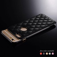 Wholesale Bumper Iphone Genuine - Luxury Genuine Original Leather Shockproof Hard Frame Bumper Case Slim Back Cover For iPhone 5S 6S Plus Capa Fashion Grid Skin Shell Housing