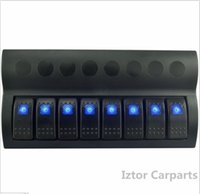All'ingrosso-8 Gang 12v / 24v LED blu dell'automobile Marine Rocker Interruttore Circuito Pannello Interruttori di sovraccarico
